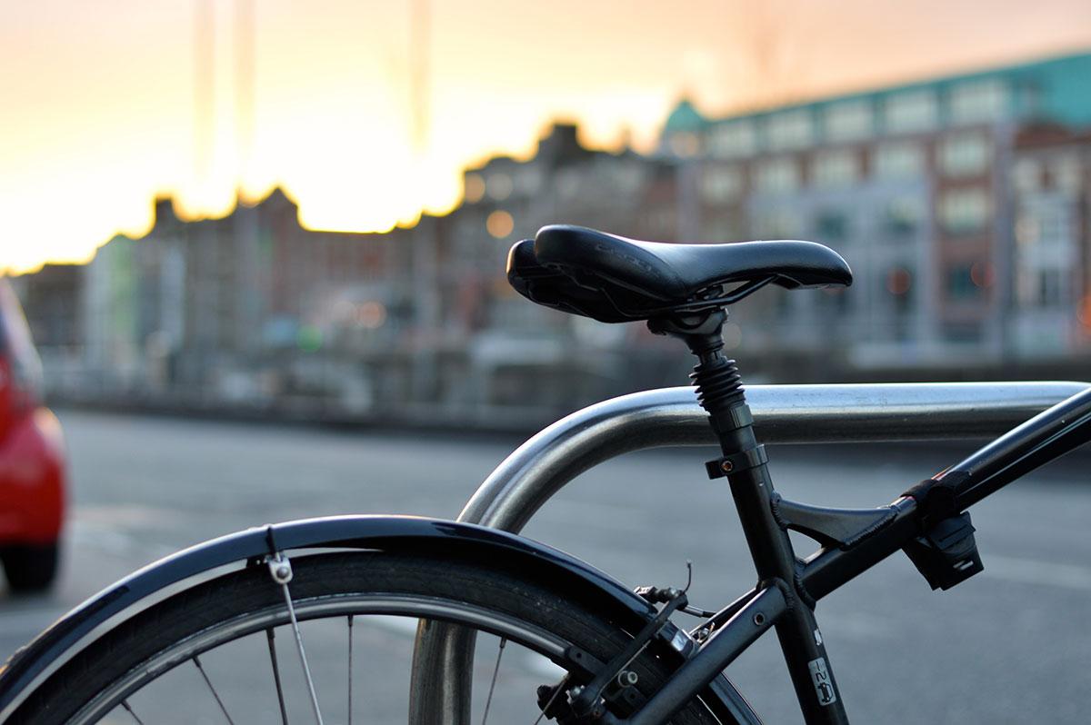 closeup of bicycle near street