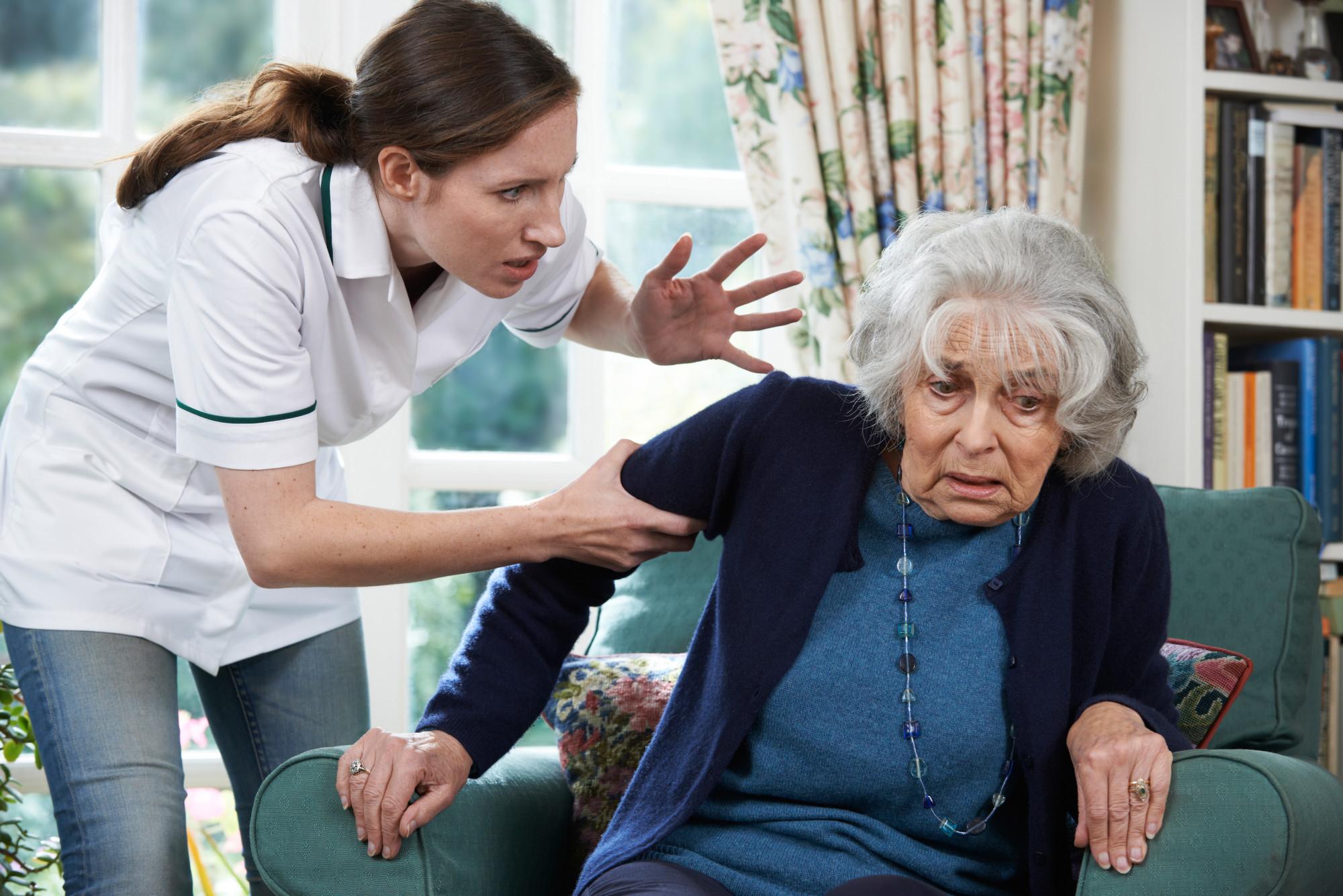 nursing home staff mistreating elderly woman
