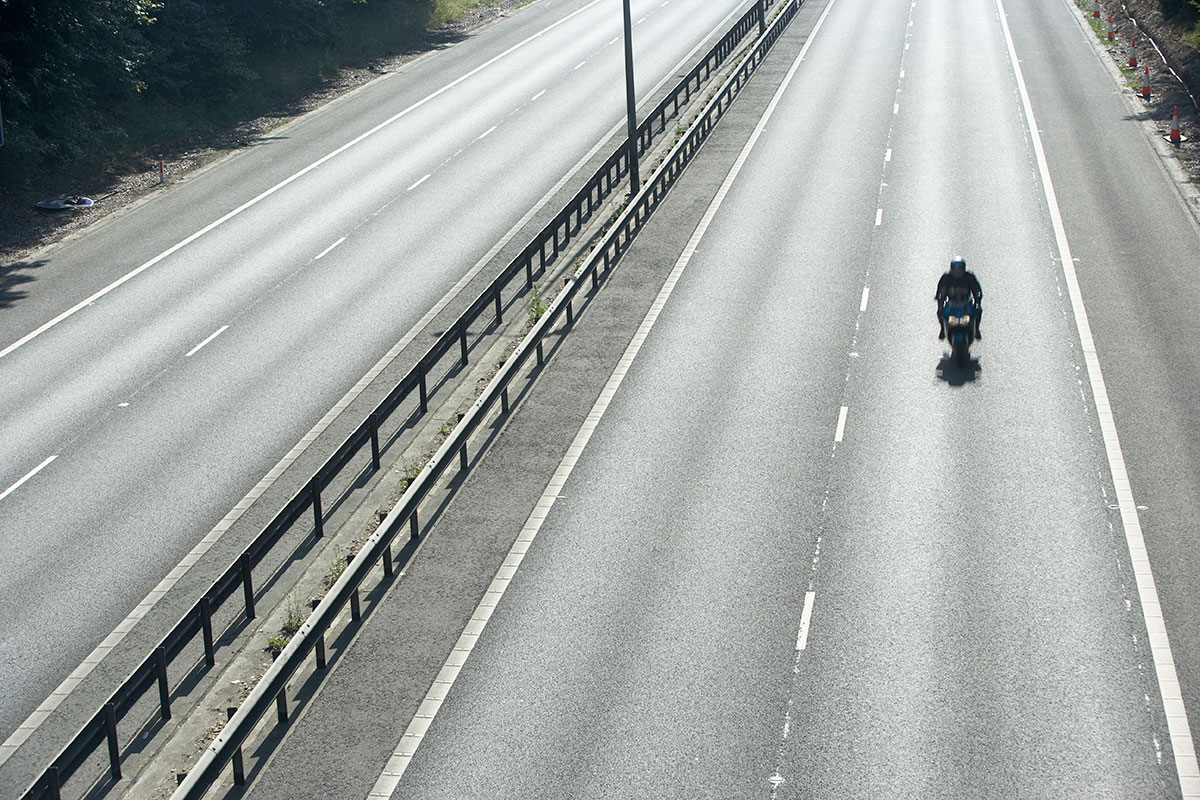 motorcyclist driving on the road