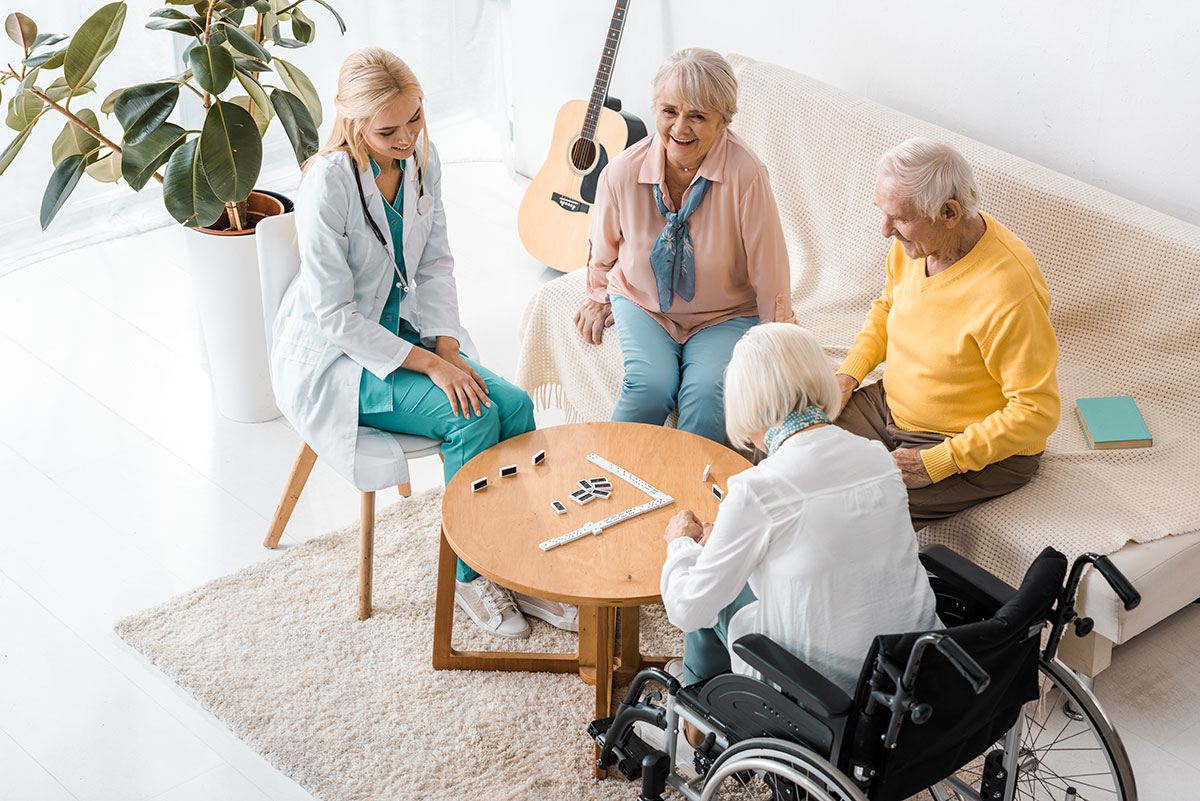 nursing home residents sitting in a group